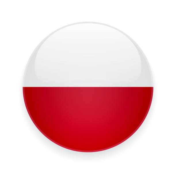 runde symbol mit der flagge von polen - flagge polen stock-grafiken, -clipart, -cartoons und -symbole