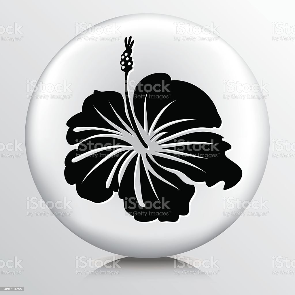 Round Icon With Hibiscus Flower Black Silhouette Stock Vector Art