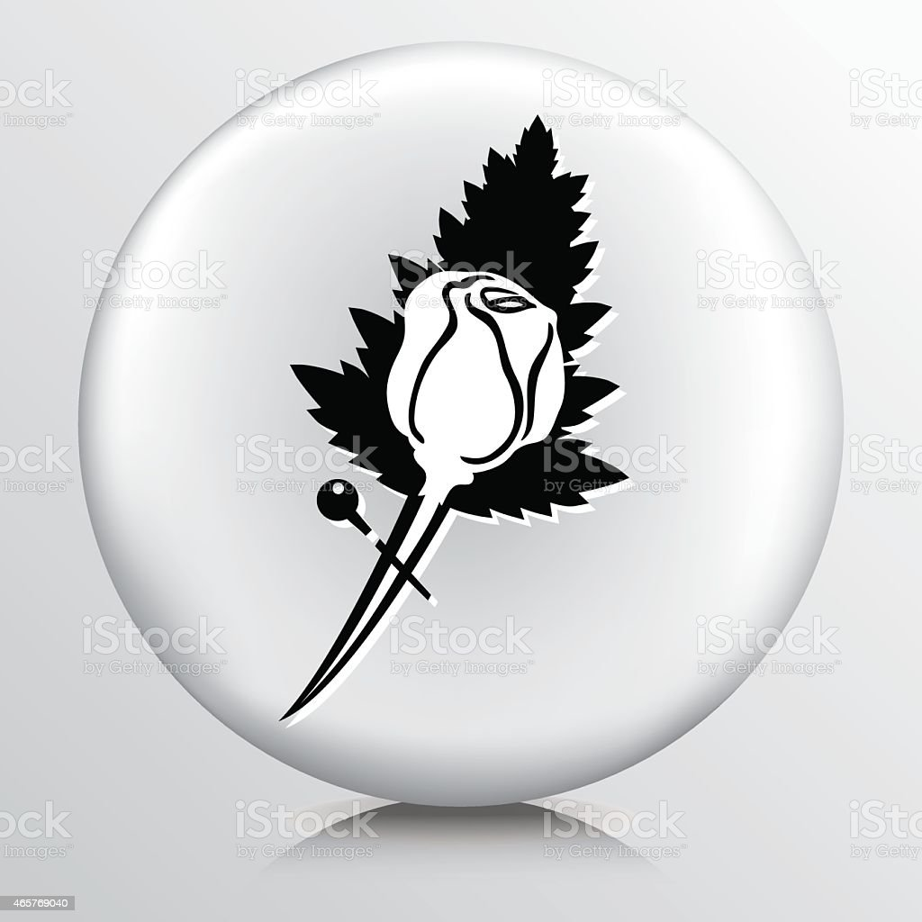 Round Icon With Rose Boutonniere Florist Symbol vector art illustration