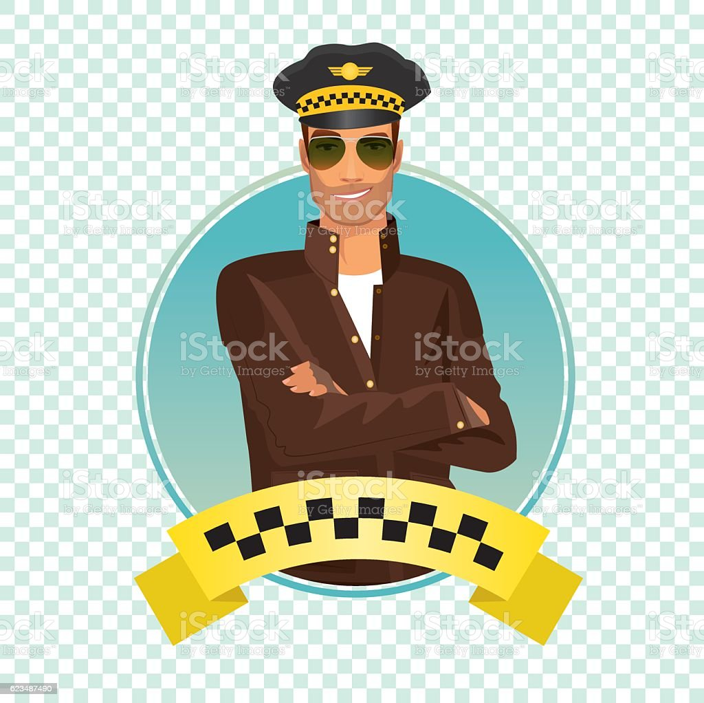 Round icon with unshaved taxi driver vector art illustration