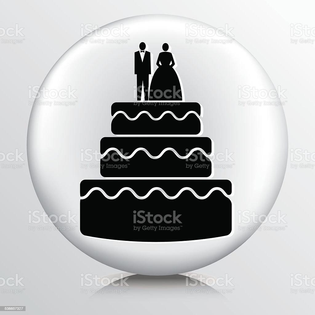 Ícone com o bolo de casamento com vertical - ilustração de arte em vetor