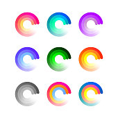 Set of Colorful Round Icons Isolated on White Background. Vector Loading Logo Concept. Business Symbols with Gradient.