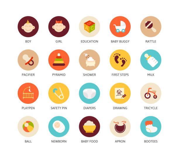 round icons thin flat design, modern line stroke style - ベビーフード点のイラスト素材/クリップアート素材/マンガ素材/アイコン素材
