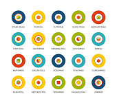 Round icons thin flat design, modern line stroke style