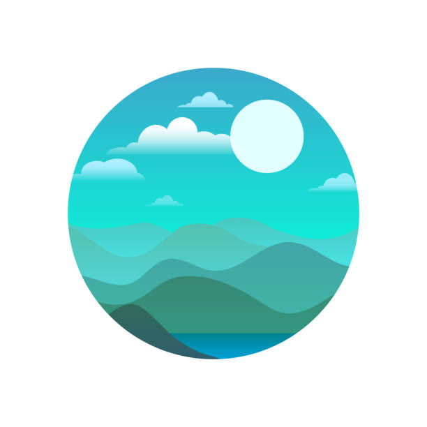 Round Illustration With Nature In Blue Hues Vector Art