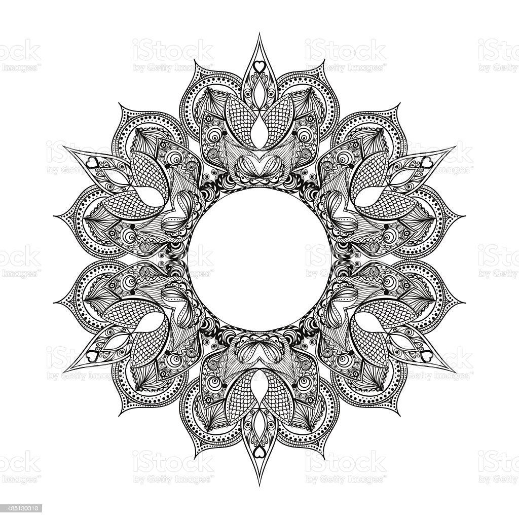 Zentangle estilizada rodada indiana, árabe Mandala. Mão desenhadas vin - ilustração de arte em vetor