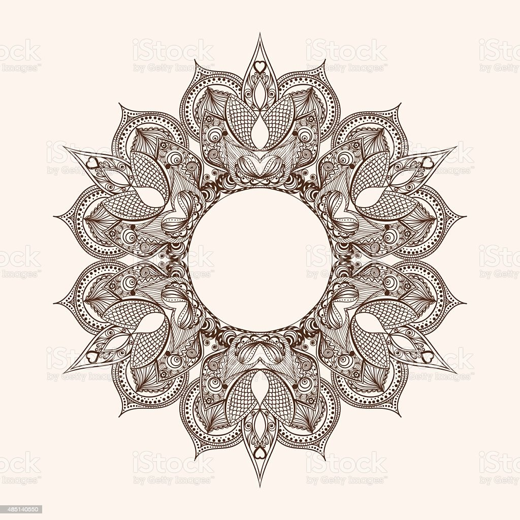 Round Indian Mandala with Hindu Elephant God vector art illustration