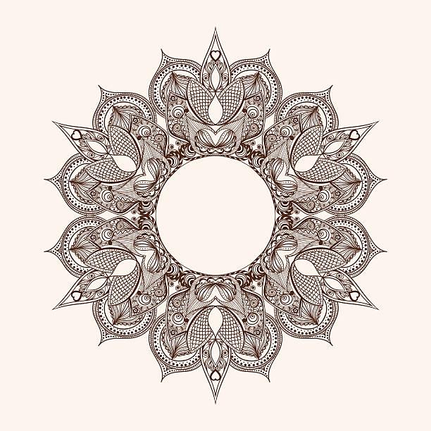 zentangle stilisierte runde indischen hindu-gott mandala mit elefantenmotiv - elefantenkunst stock-grafiken, -clipart, -cartoons und -symbole