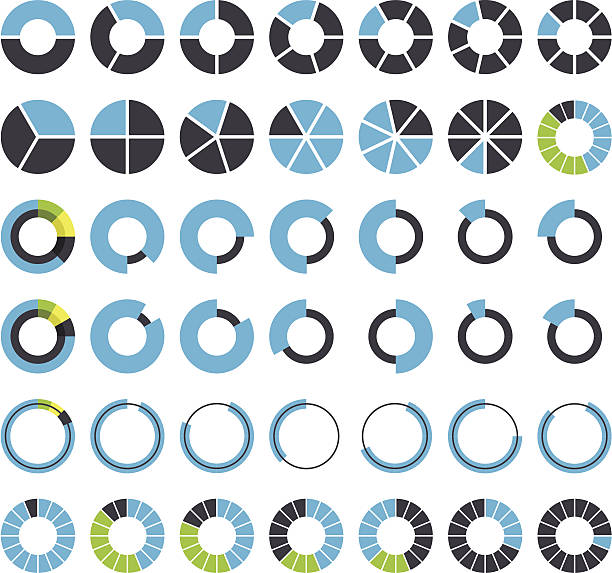 runde infografik-elemente und pie diagramme - portion stock-grafiken, -clipart, -cartoons und -symbole
