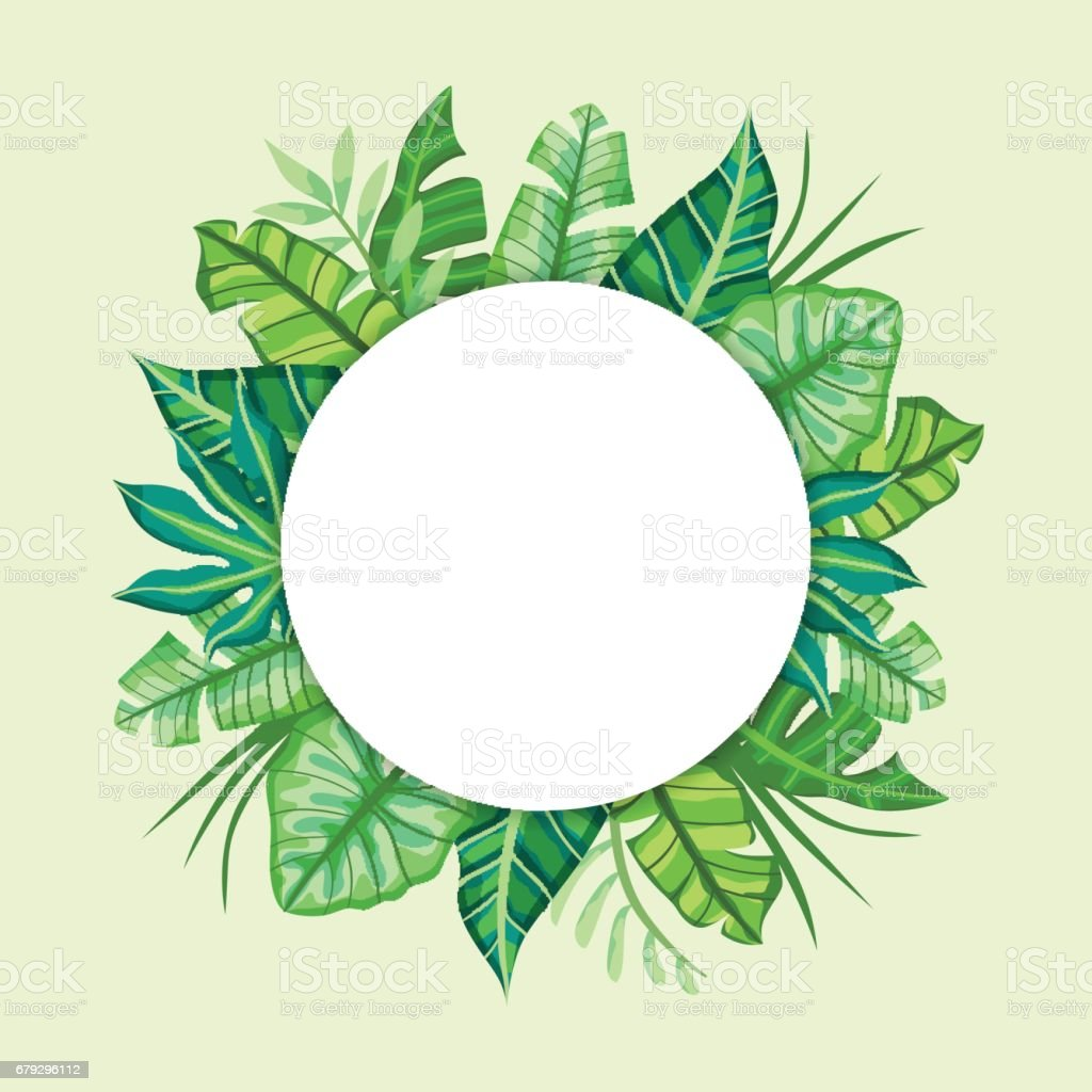Round label design with Tropical Leaves. Suitable for nature concept, vacation, and summer holidays. Vector Illustration. royalty-free round label design with tropical leaves suitable for nature concept vacation and summer holidays vector illustration stock vector art & more images of backgrounds