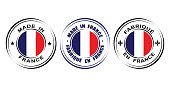 Round label Made in France with flag and lily symbol