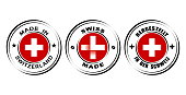 Round label Made in Switzerland with flag,  Swiss made with watch icon