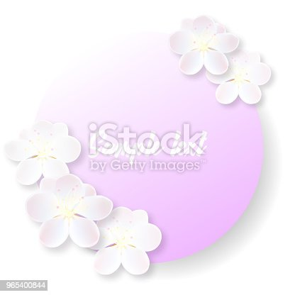 Round Label Or Sticker With Delicate Sakura Flowers Stock Vector Art & More Images of Anniversary 965400844