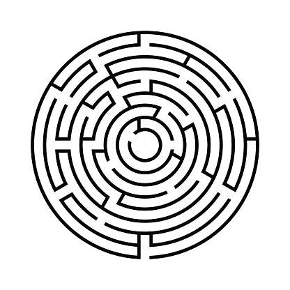 Round labyrinth.Isolated on white background. Vector illustration.