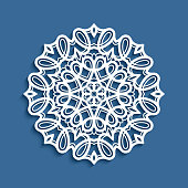 Round lace doily, Christmas snowflake decoration, cutout paper pattern, mandala circle ornament, template for laser cutting or wood carving
