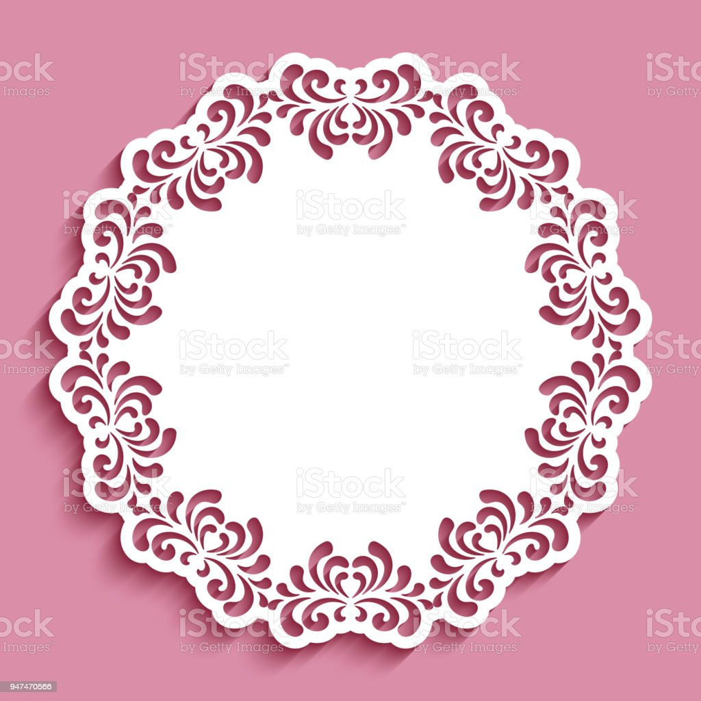 Round lace doily with cutout border pattern vector art illustration