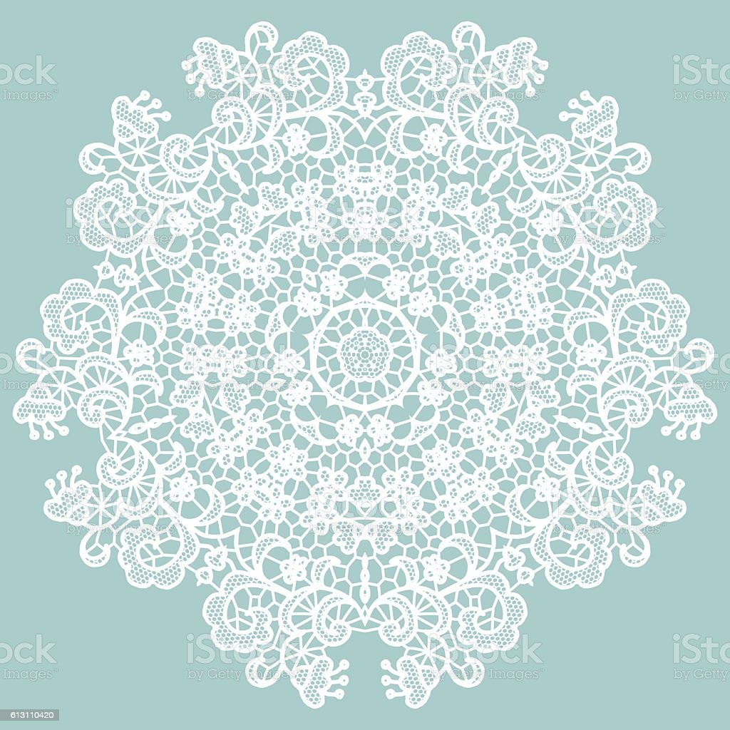 Round lacy doily. vector art illustration