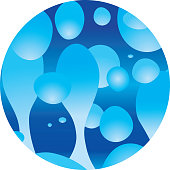 Vector illustration of blue lava lamp style bubbles in a circle.
