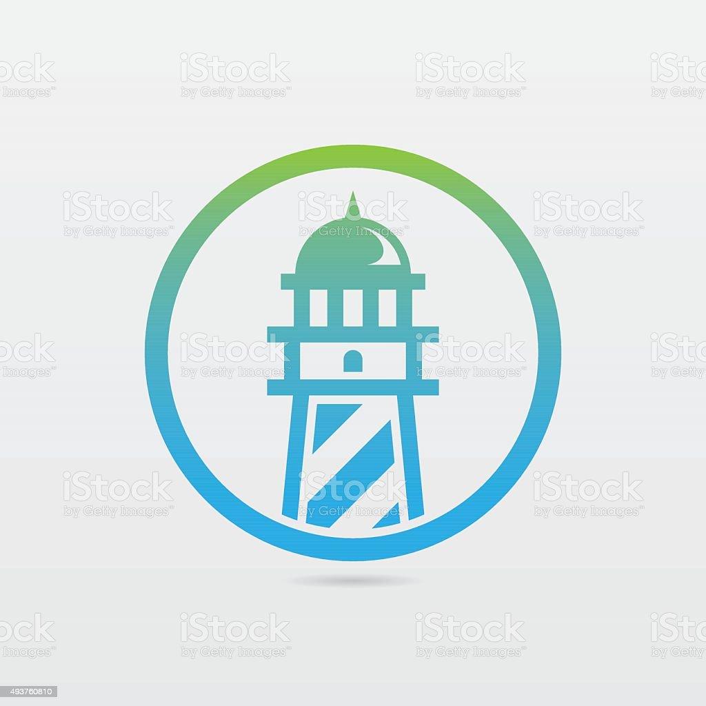 Round Lighthouse Icon vector art illustration
