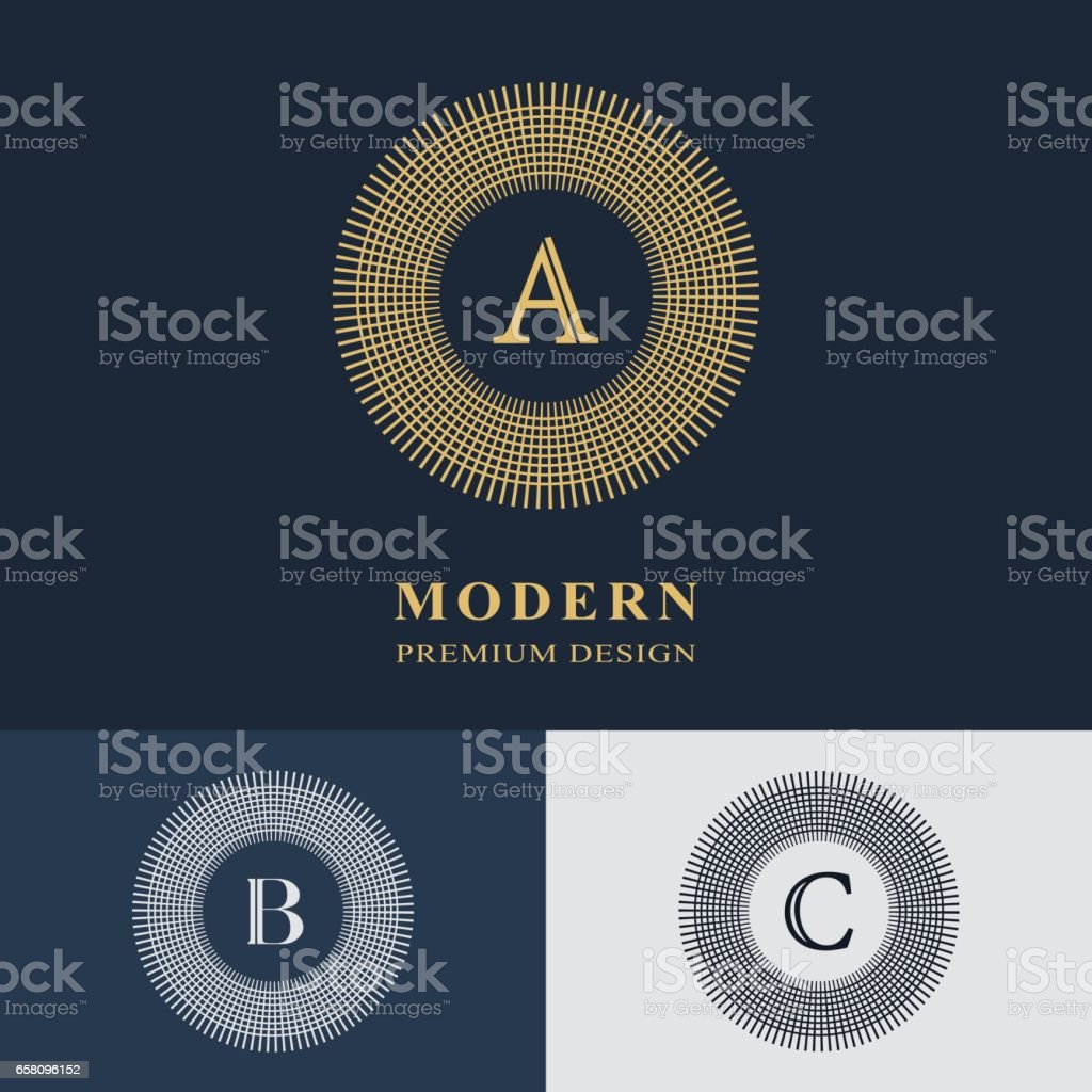 Round Line graphics monogram. Elegant art logo design. Emblem. Graceful template. Letter A, B, C. Business sign, identity for Restaurant, Royalty, Boutique, Cafe, Hotel, Heraldic, Jewelry, Fashion. Vector Illustration