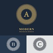 Vector illustration of Luxury Abstract Monogram, graceful template. Calligraphic elegant line art design