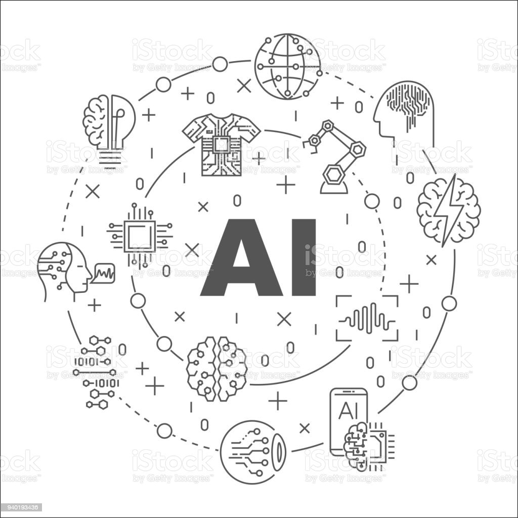 AI round line illustration. Vector circular symbol made with words Artificial Intelligence and technology icons vector art illustration