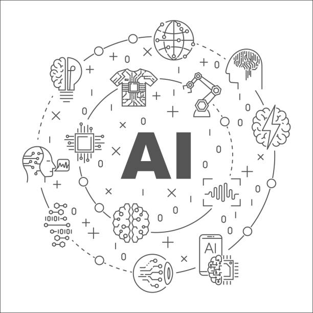 ai round line illustration. vector circular symbol made with words artificial intelligence and technology icons - artificial intelligence stock illustrations, clip art, cartoons, & icons