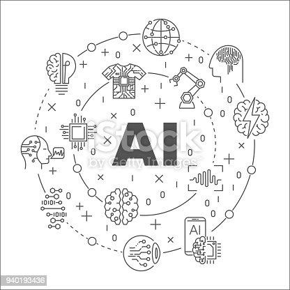 Ai Round Line Illustration Vector Circular Symbol Made