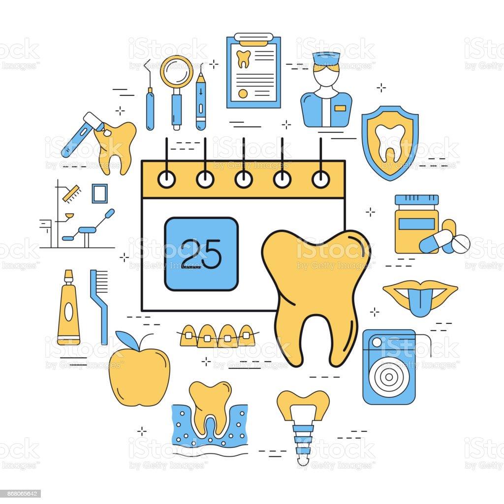 46dfffad6 Rodada Conceito Linear De Cuidados Dentários De Calendário - Arte ...