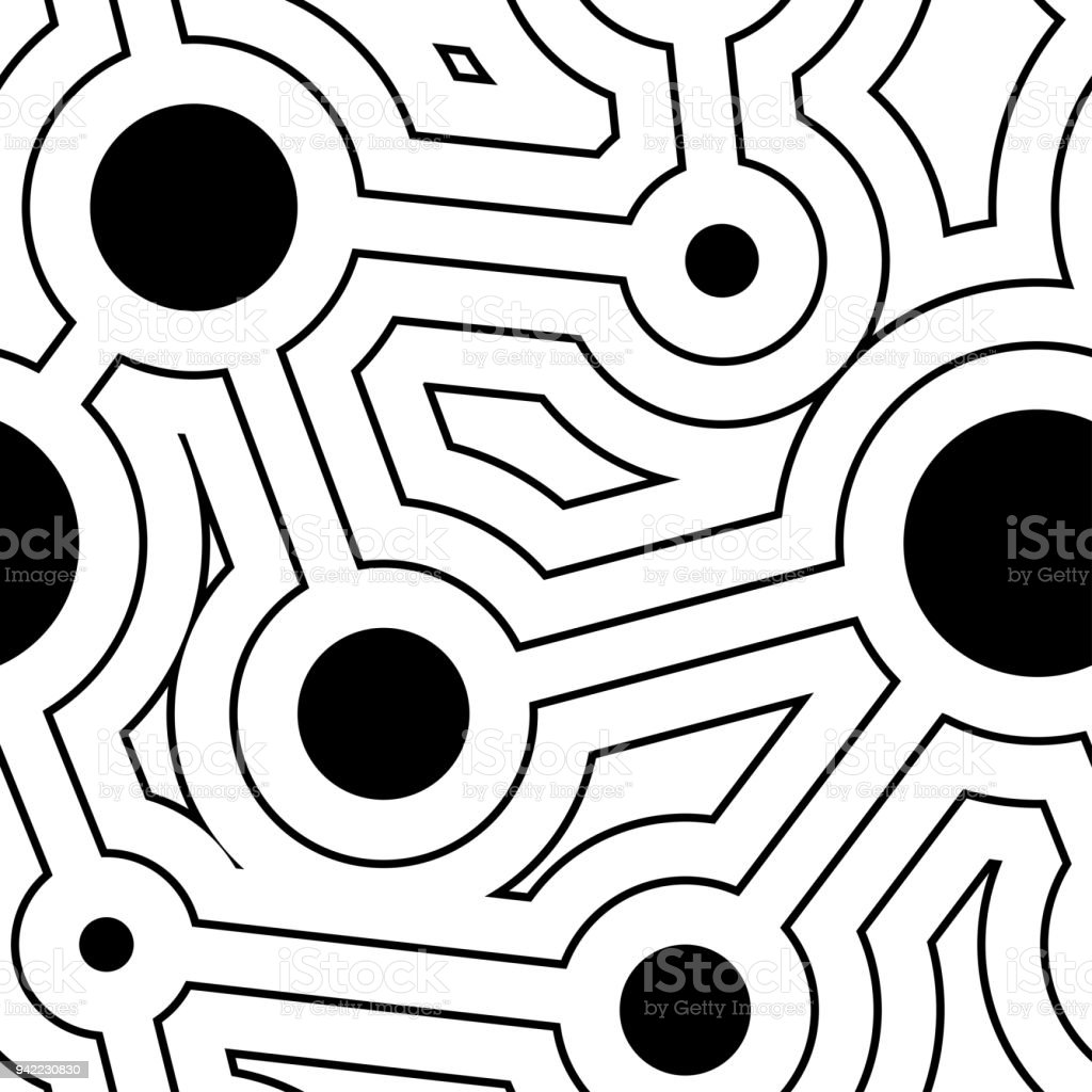 Round Lines And Circles Geometry Seamless Pattern Stock