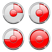 Round loading progress icon with percent indication. Red and white sign with chrome frame. Vector 3d illustration isolated on white background