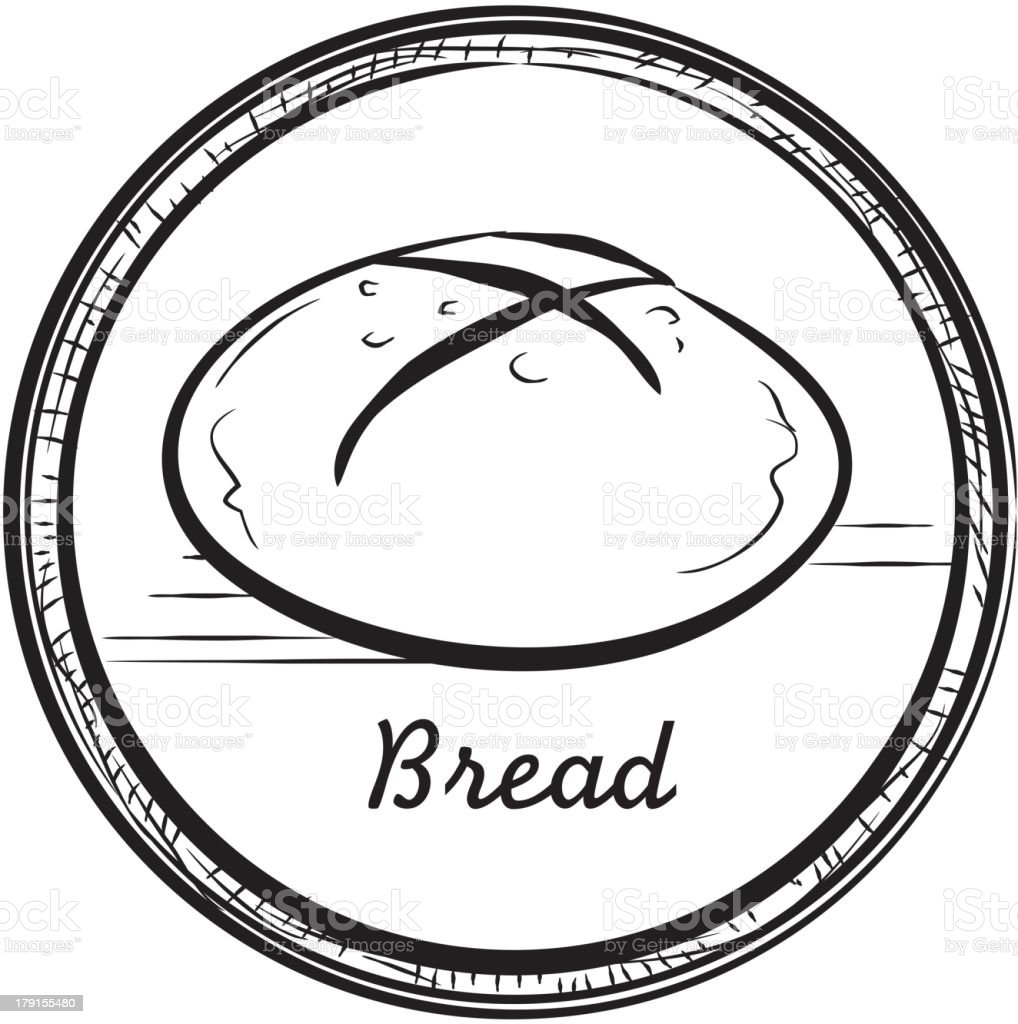 Round loaf of bread with circular frame royalty-free round loaf of bread with circular frame stock vector art & more images of bakery