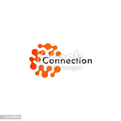 istock Round logo concept, connected points creative logotype for technology, science research and other digital startup, abstract holistic shape logotype concept. 1254368806
