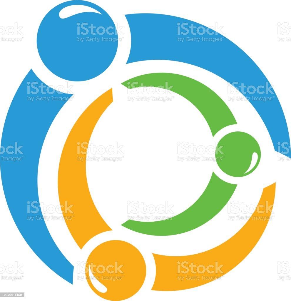 Round logo people vector art illustration