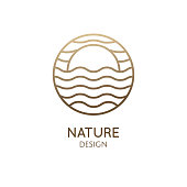Sun and sea logo template. Vector round icon of sea landscape - waves, sunrise, wavy lines. Minimal badge for business emblems, for a travel, tourism and ecology concepts, health and yoga Center.