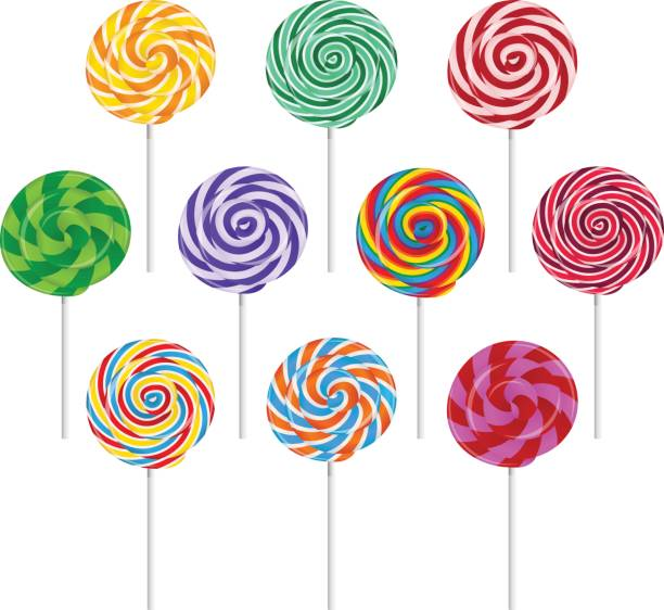 Round lollipops on white background illustration. Vector set of colorful round lollipop on white background. candy silhouettes stock illustrations
