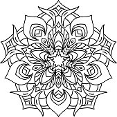 Round mandala with oriental ornament for coloring book on white. Vector paper illustration.