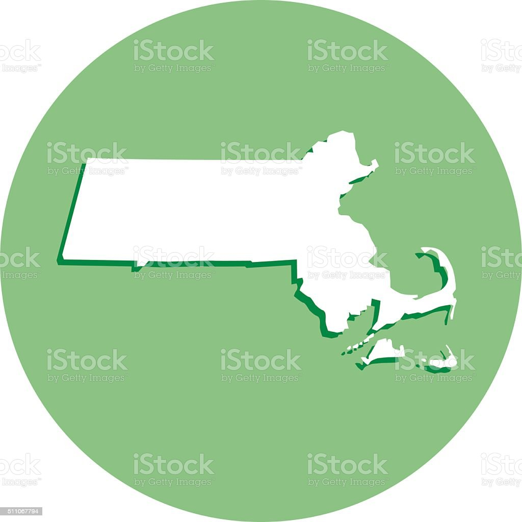 Round Massachusetts Map Icon vector art illustration