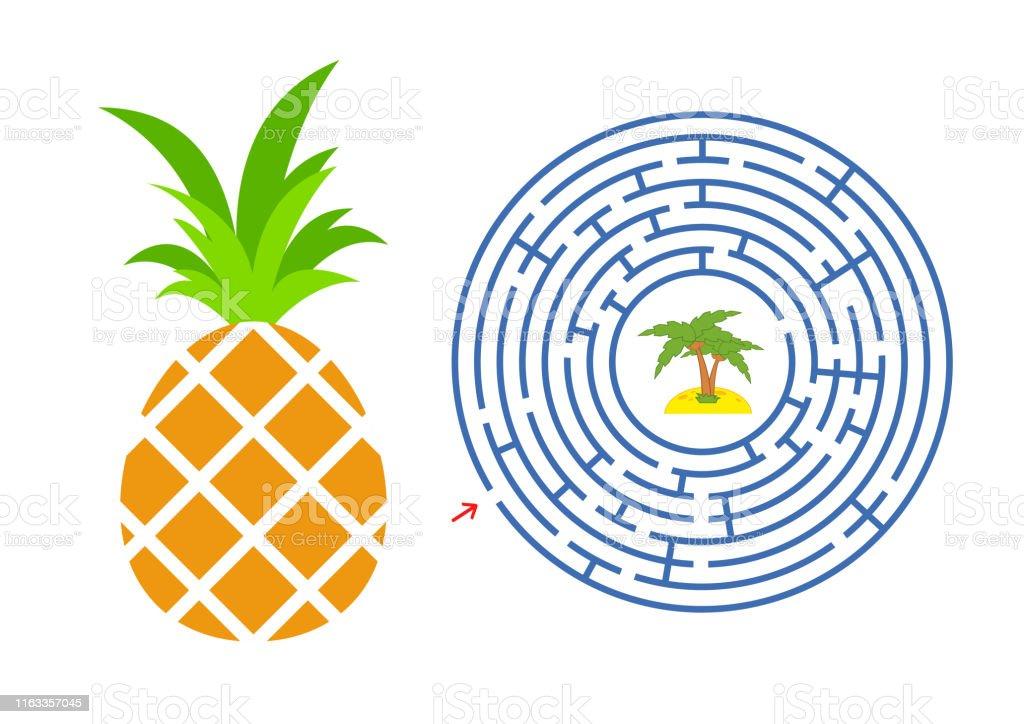 Labyrinthe Rond Avec Un Caractère De Dessin Animé