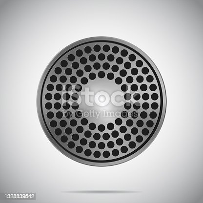istock Round Metal Brushed Texture Loudspeaker With Glare 1328839542