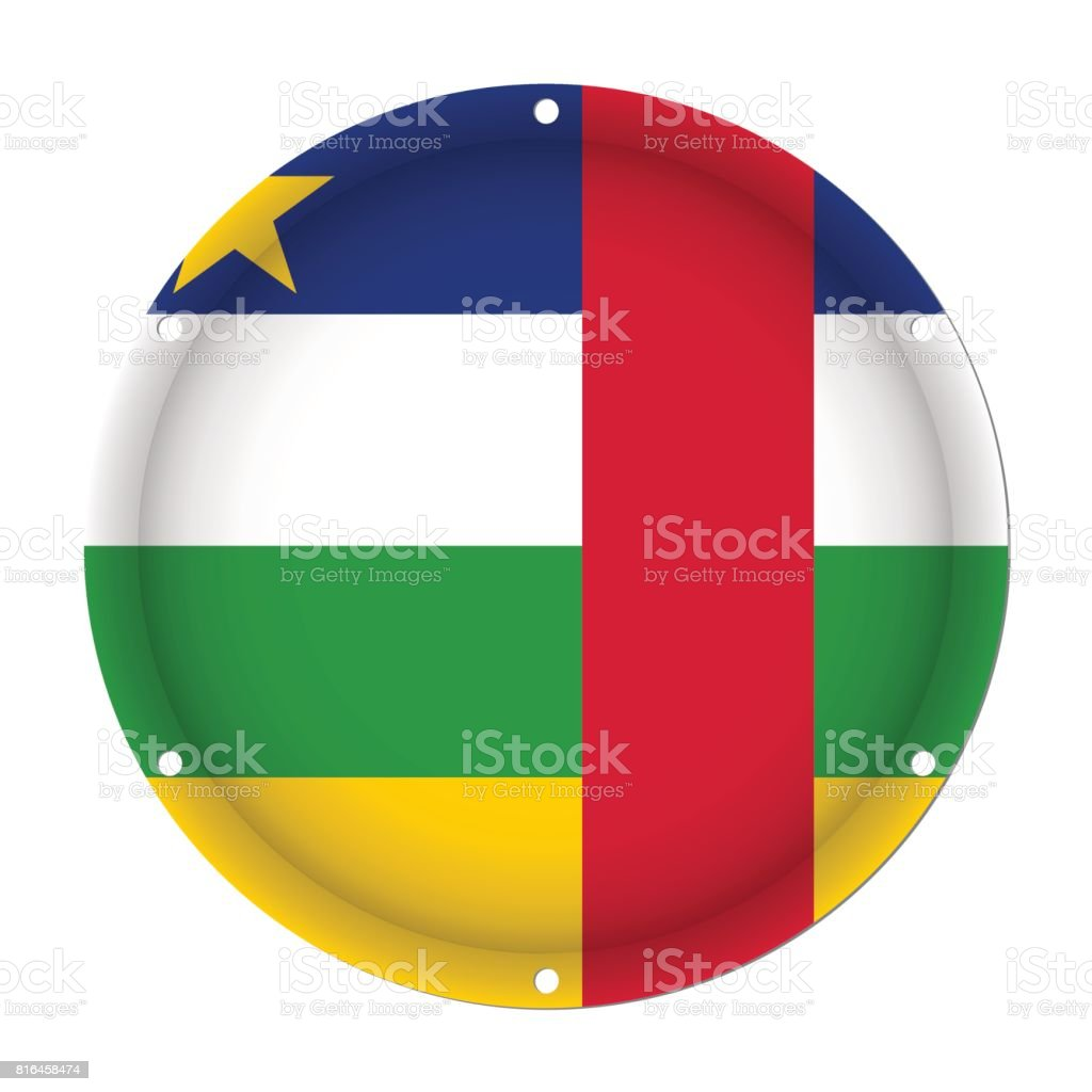 round metal flag, Central African Republic, holes vector art illustration
