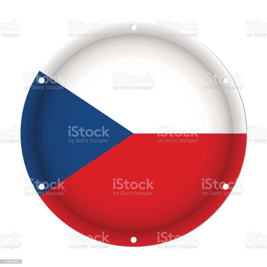 round metal flag - Czech Republic with screw holes vector art illustration