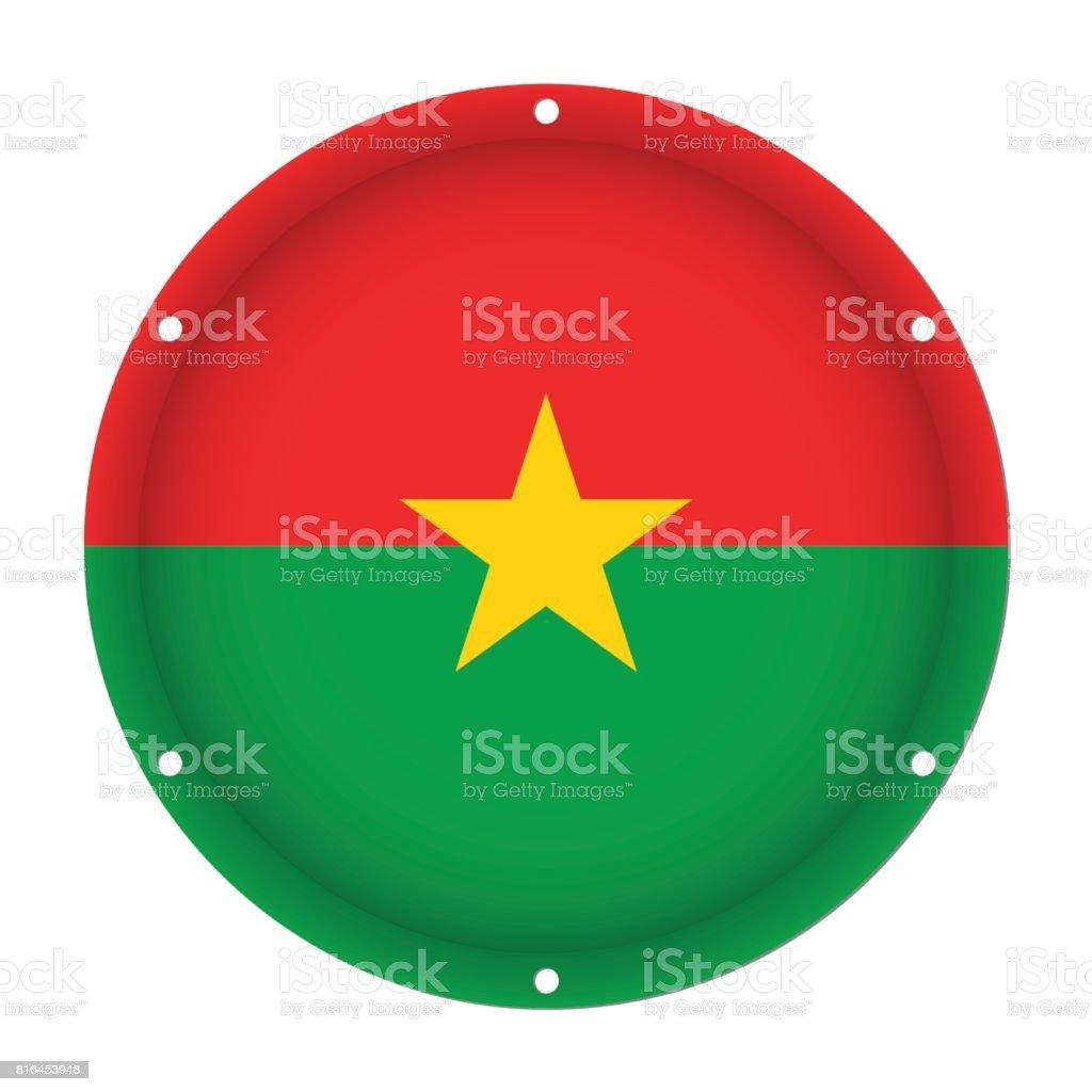 round metal flag of Burkina Faso with screw holes vector art illustration
