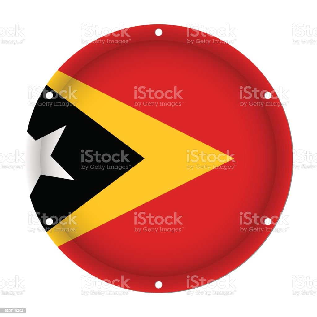 round metal flag of East Timor, with screw holes vector art illustration