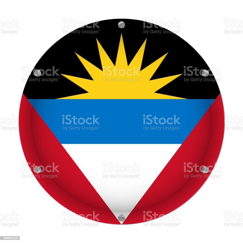 round metallic flag - Antigua and Barbuda, screws vector art illustration