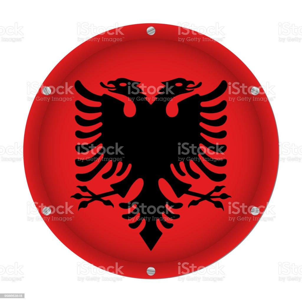 round metallic flag of Albania with screws vector art illustration