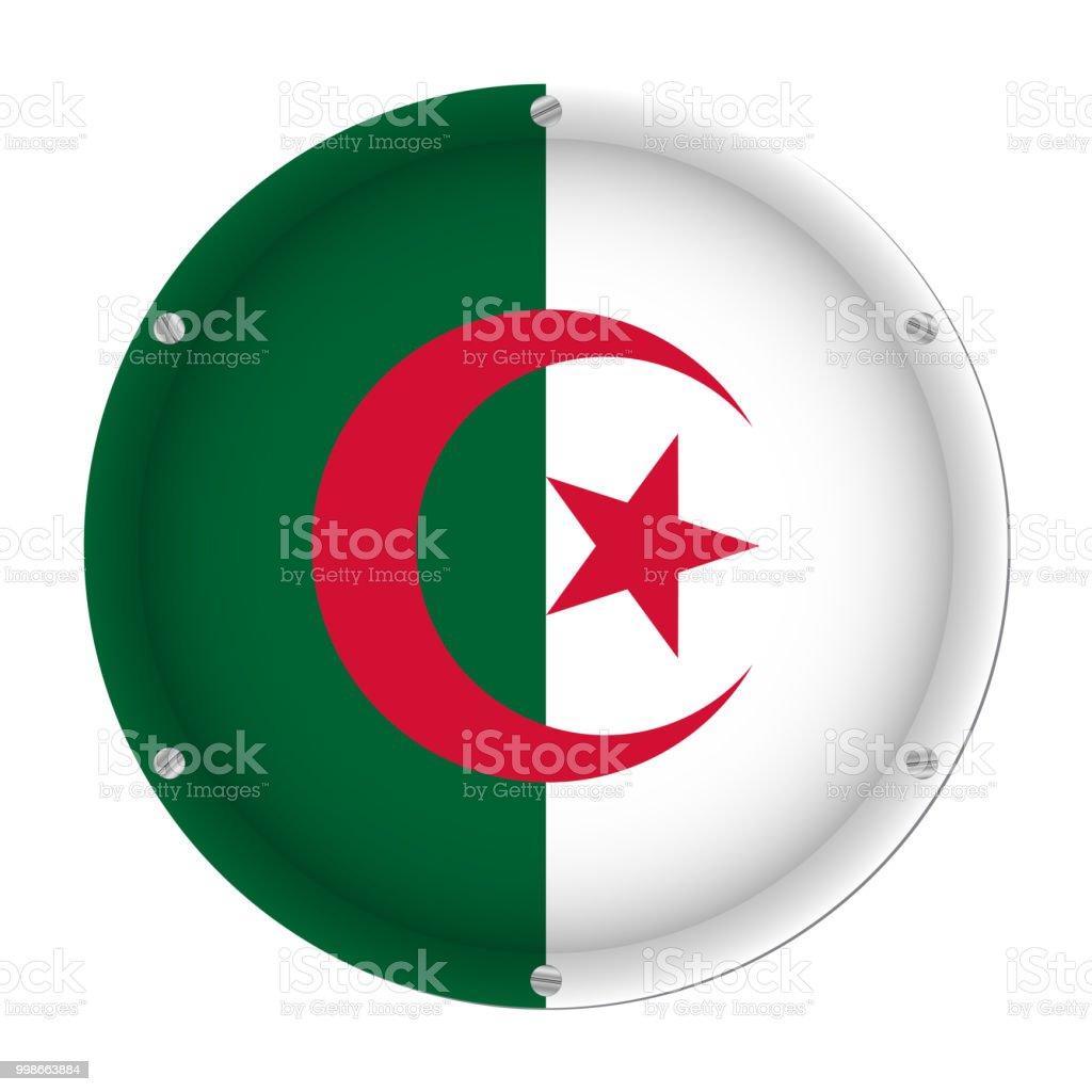 round metallic flag of Algeria with screws vector art illustration