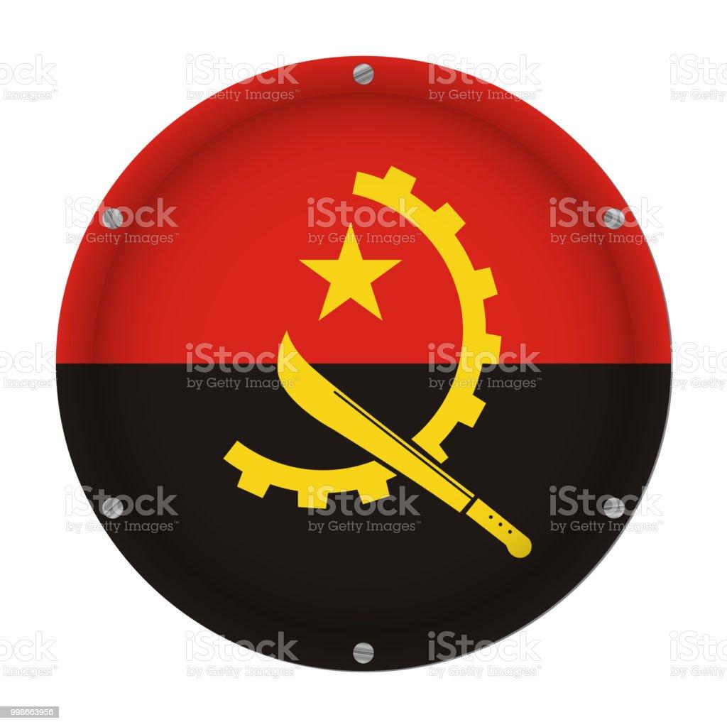 round metallic flag of Angola with screws vector art illustration