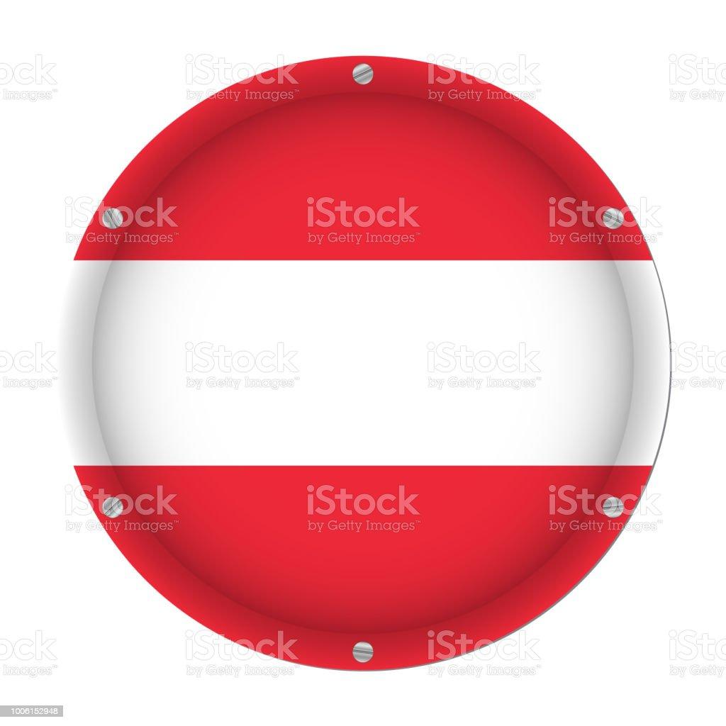 round metallic flag of Austria with screws vector art illustration