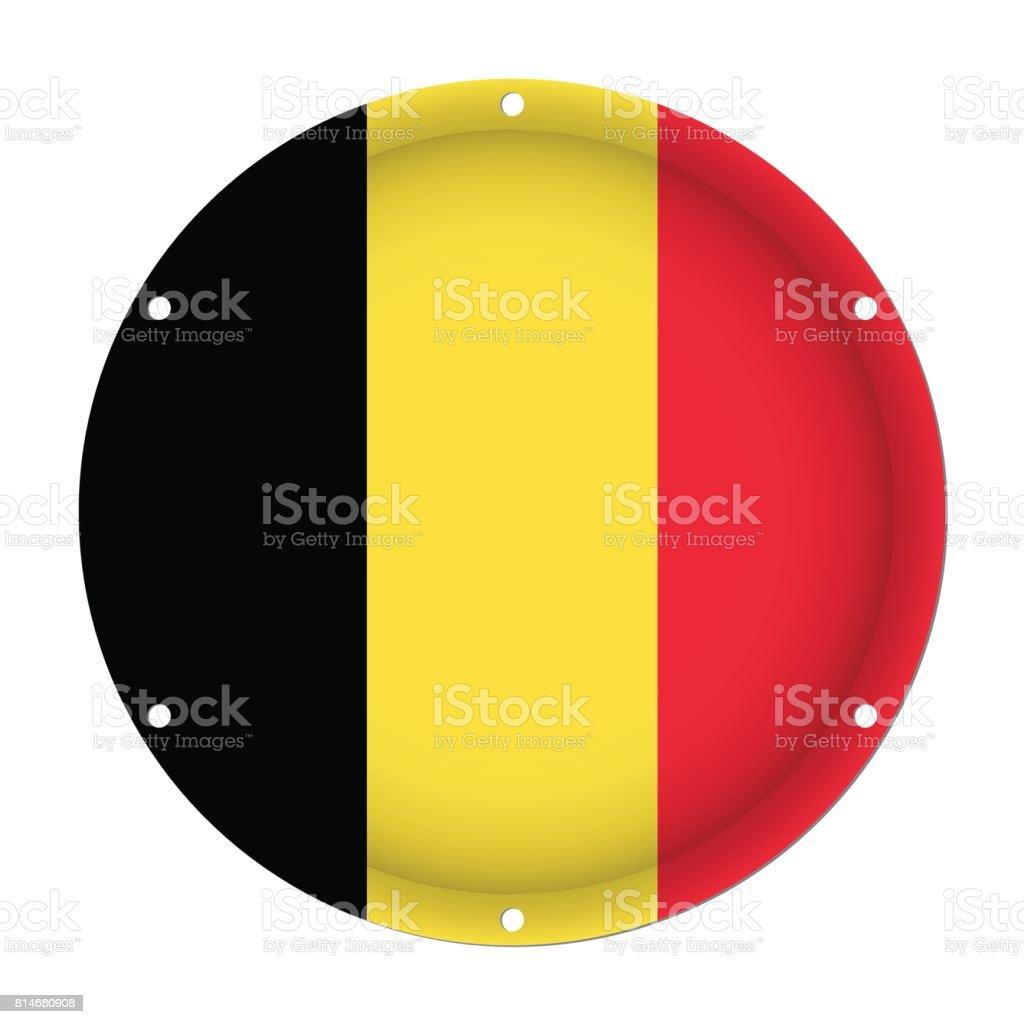 round metallic flag of Belgium with screw holes vector art illustration